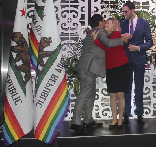 California Legislative LGBT Caucus members Assemblyman Todd Gloria of San Diego and Sens. Cathleen Galgiani of Stockton and Scott Wiener of San Francisco celebrate at an Equality California event in January.