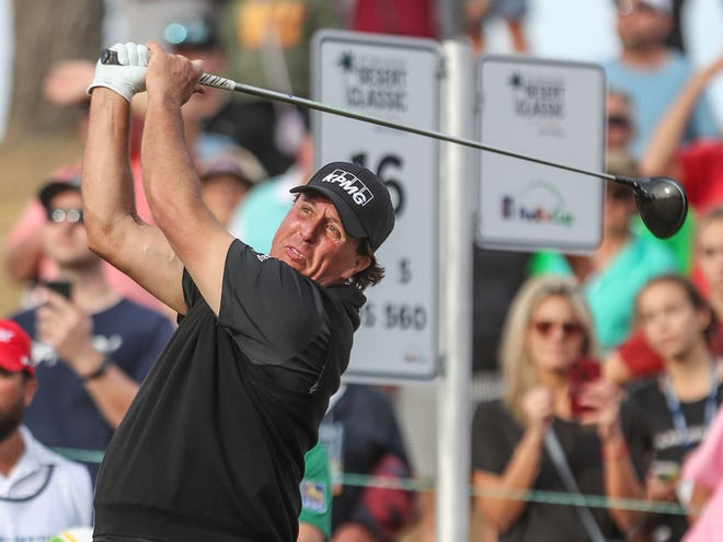 Phil Mickelson tees off on the 16th hole of the Stadium Course at PGA West during the Desert Classic, January 20, 2019.