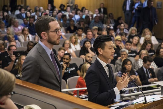 "State Sen. Scott Wiener of San Francisco and Assemblyman Evan Low of Campbell argue for a bill banning the advertising or sale of ""gay conversion therapy"" in 2018."