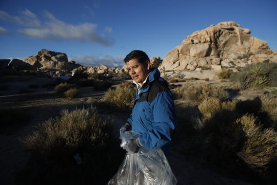 Rep. Raul Ruiz, D-Palm Desert, visits Joshua Tree National Park on Martin Luther King Jr. Day to survey the park and help clean trash left behind from campers as the partial government shutdown continues on Jan. 20, 2019.