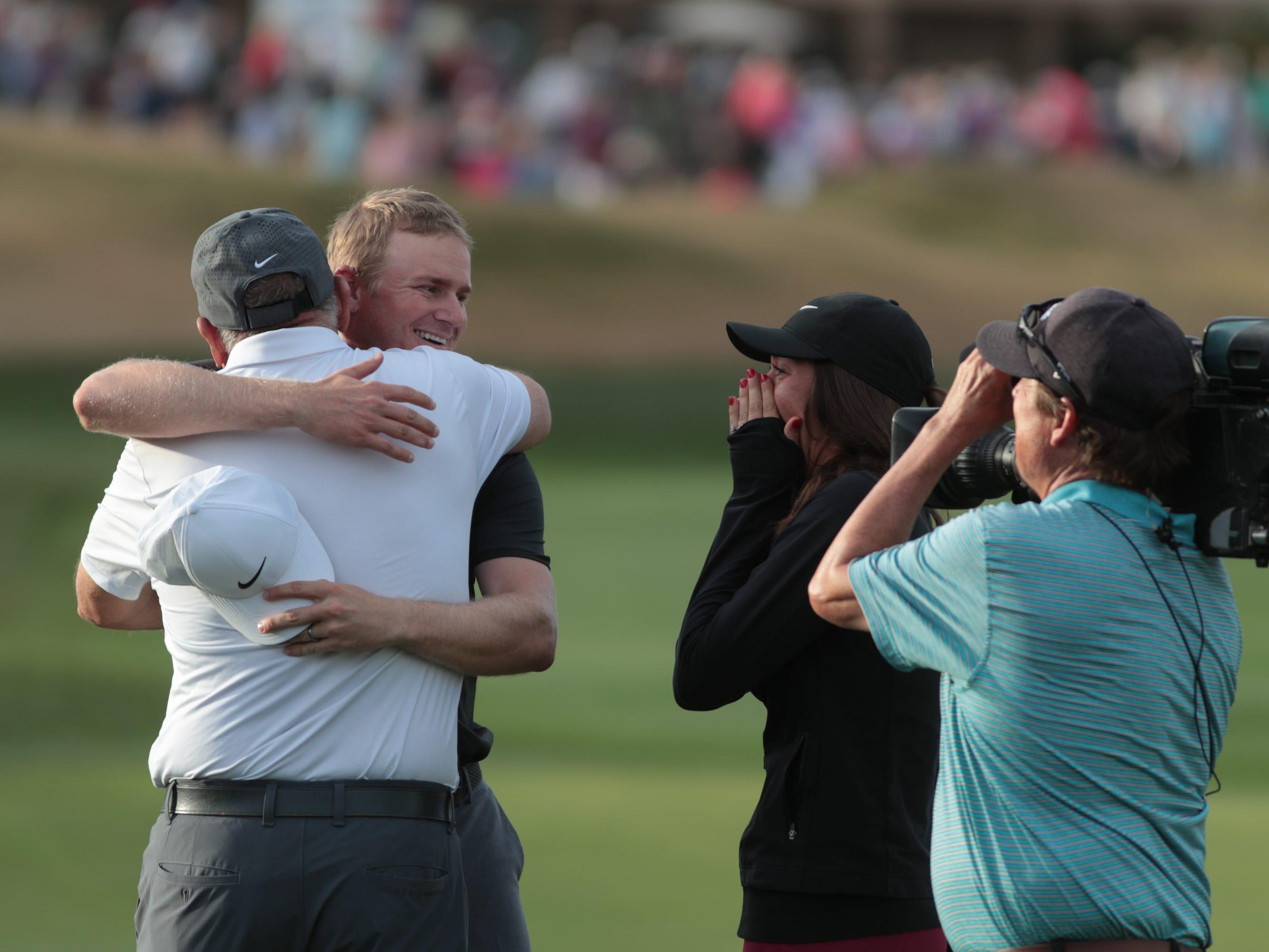 Adam Long celebrates after winning the 2019 Desert Classic, Sunday, January 20, 2019.