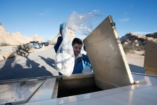 Rep. Raul Ruiz, D-Palm Desert, visits Joshua Tree National Park on Martin Luther King Jr. Day to survey the park and help clean trash left behind from campers as the partial government shutdown continues on Jan. 21, 2019.