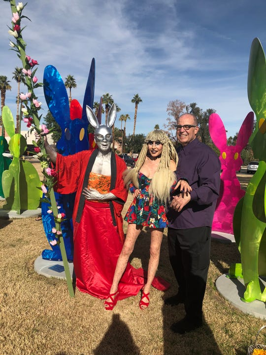 "Simeon Den, Karen Barone and Tony Barone pose for photos following the dedication of ""Desert Warren"" at The Atrium in Rancho Mirage on Sunday, Jan. 20, 2019."