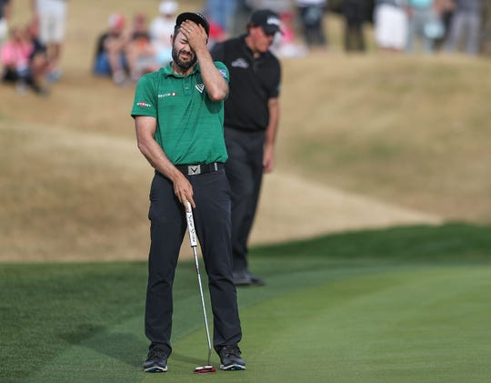 Adam Hadwin reacts to missing a putt on the 15th hole of the Stadium Course at PGA West during the Desert Classic, January 20, 2019.