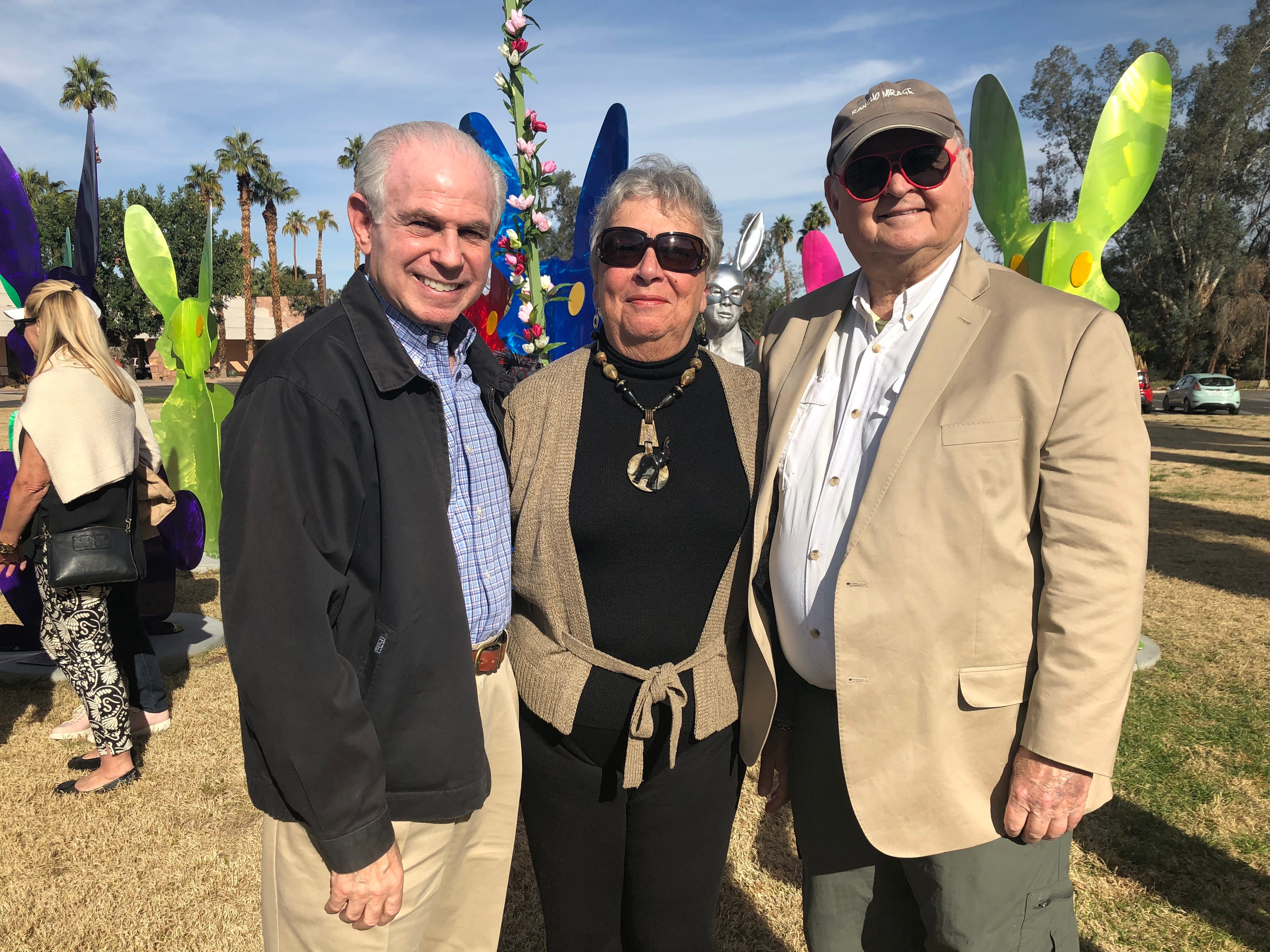 "Mitch Blumberg, Carol Egan and Jim Egan at the dedication for ""Desert Warren."" The three were among the sponsors for the individual rabbits."