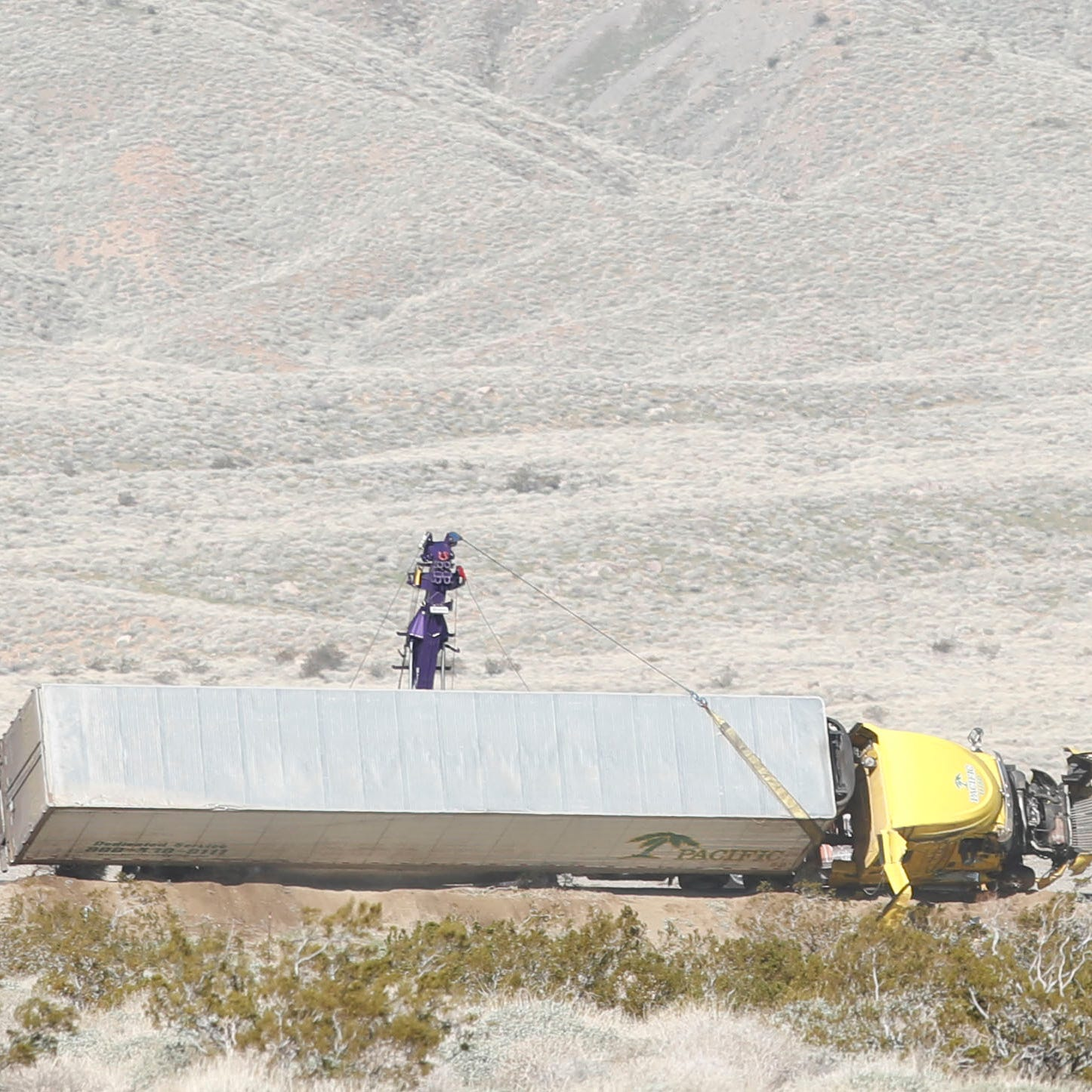 High winds knock out power across Coachella Valley; big rig flips on Highway 62