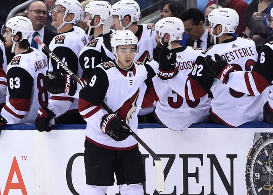 Jan 20, 2019: Arizona Coyotes forward Clayton Keller (9) celebrates with team mates at the bench after scoring against Toronto Maple Leafs in the second period at Scotiabank Arena.