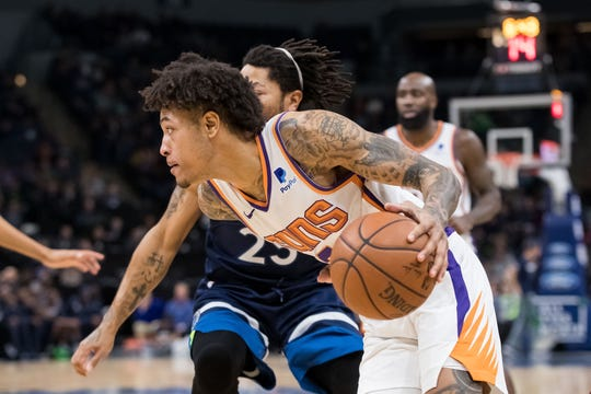Jan 20, 2019; Minneapolis, MN, USA; Phoenix Suns forward Kelly Oubre Jr. (3) dribbles in the second quarter against Minnesota Timberwolves at Target Center. Mandatory Credit: Brad Rempel-USA TODAY Sports