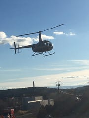 A YCSO helicopter flying over Crown King on January 21, 2019.