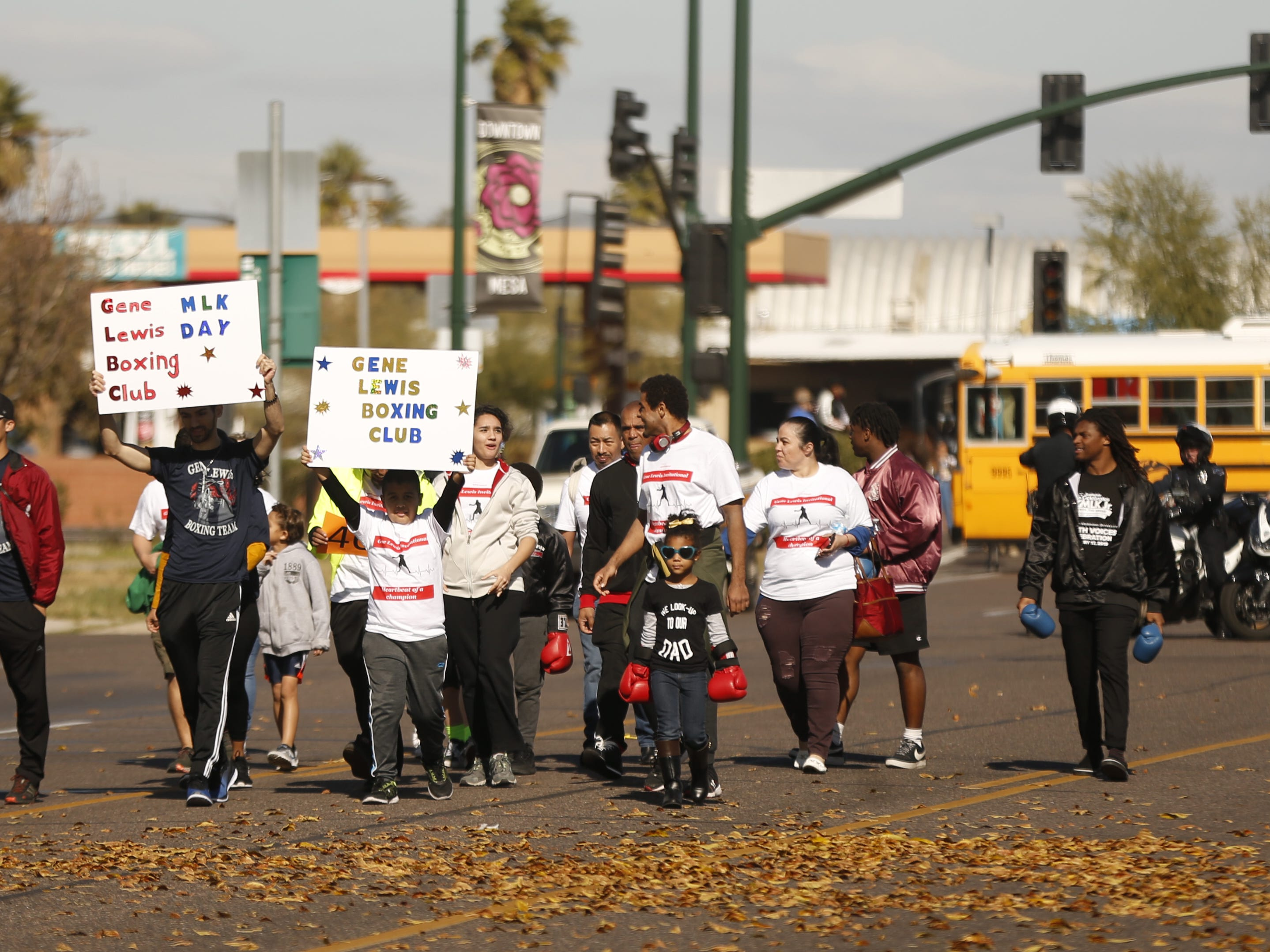 Gene Lewis Boxing Club marches during the MLK Day Parade in Mesa, Ariz. on January 21, 2019.
