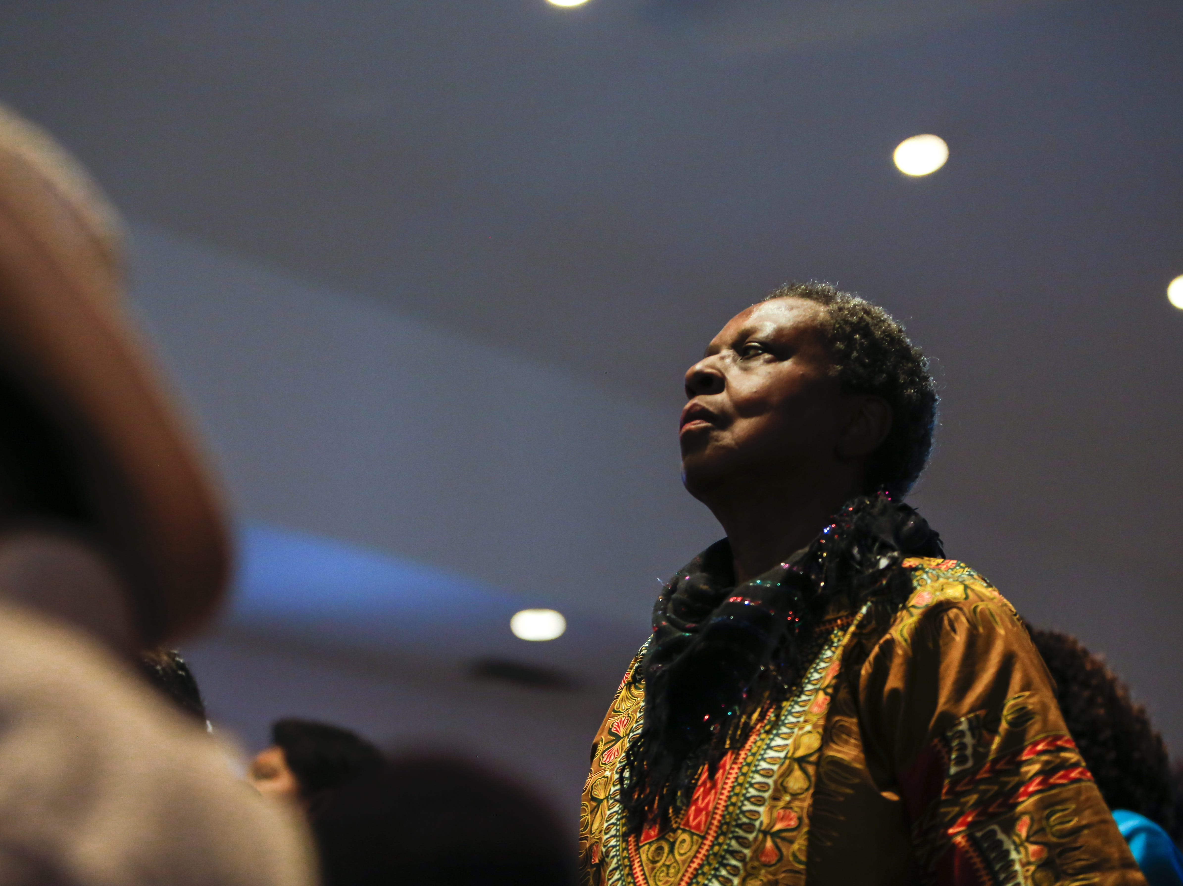 Annie Hargrove stands during a Sunday morning service at First Institutional Baptist Church on Jan. 20, 2019.
