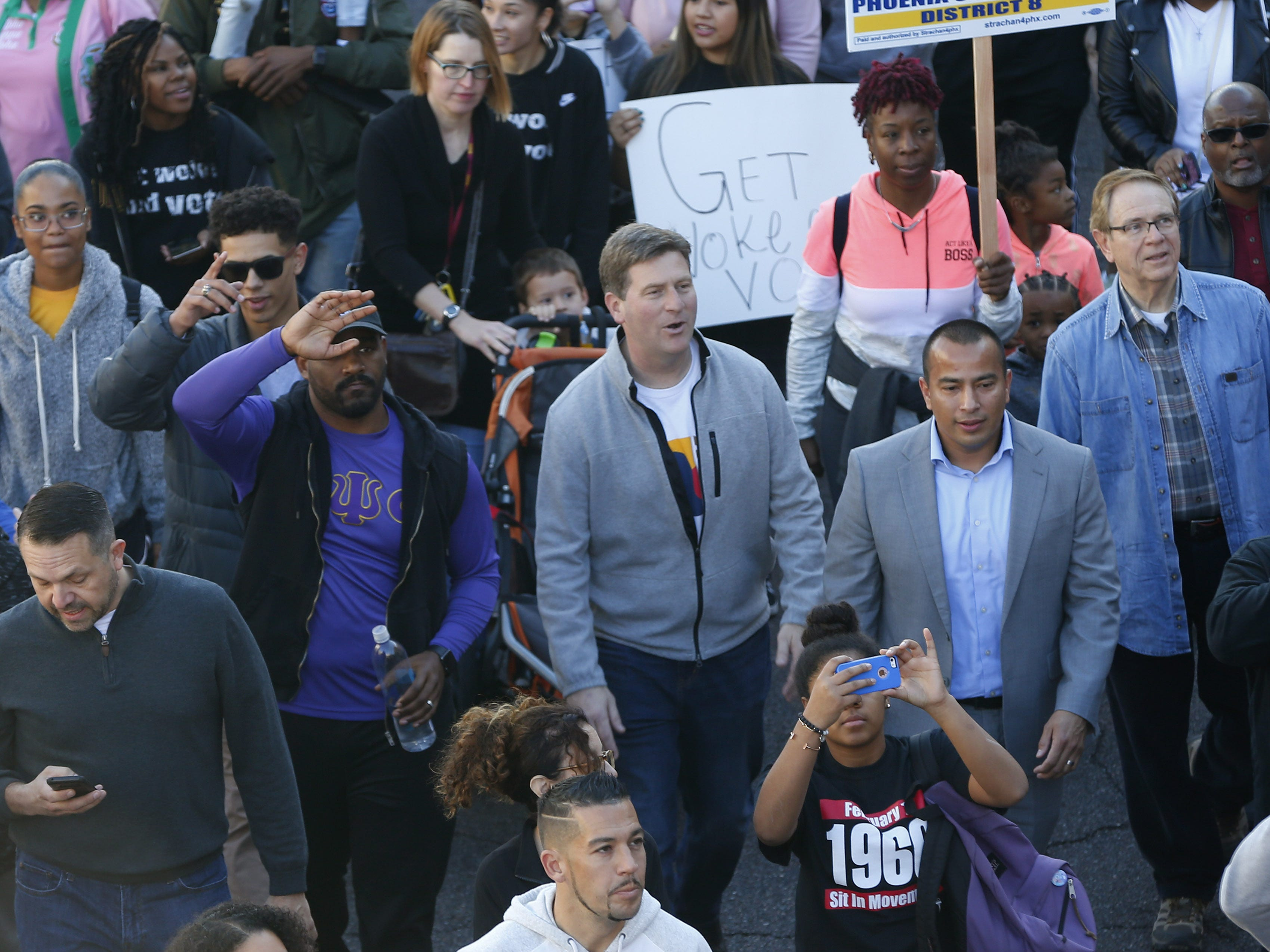 U.S. Rep. Greg Stanton (D-Ariz.) marches with others honoring Dr. Martin Luther King in downtown Phoenix, Ariz. January 21, 2019. The march is symbolic of Dr. King's revolutionary 1968 march.