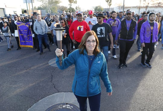 Sen. Martha McSally (R-Ariz) leads a march honoring Dr. Martin Luther King in downtown Phoenix, Ariz. January 21, 2019. The march is symbolic of Dr. King's revolutionary 1968 march.