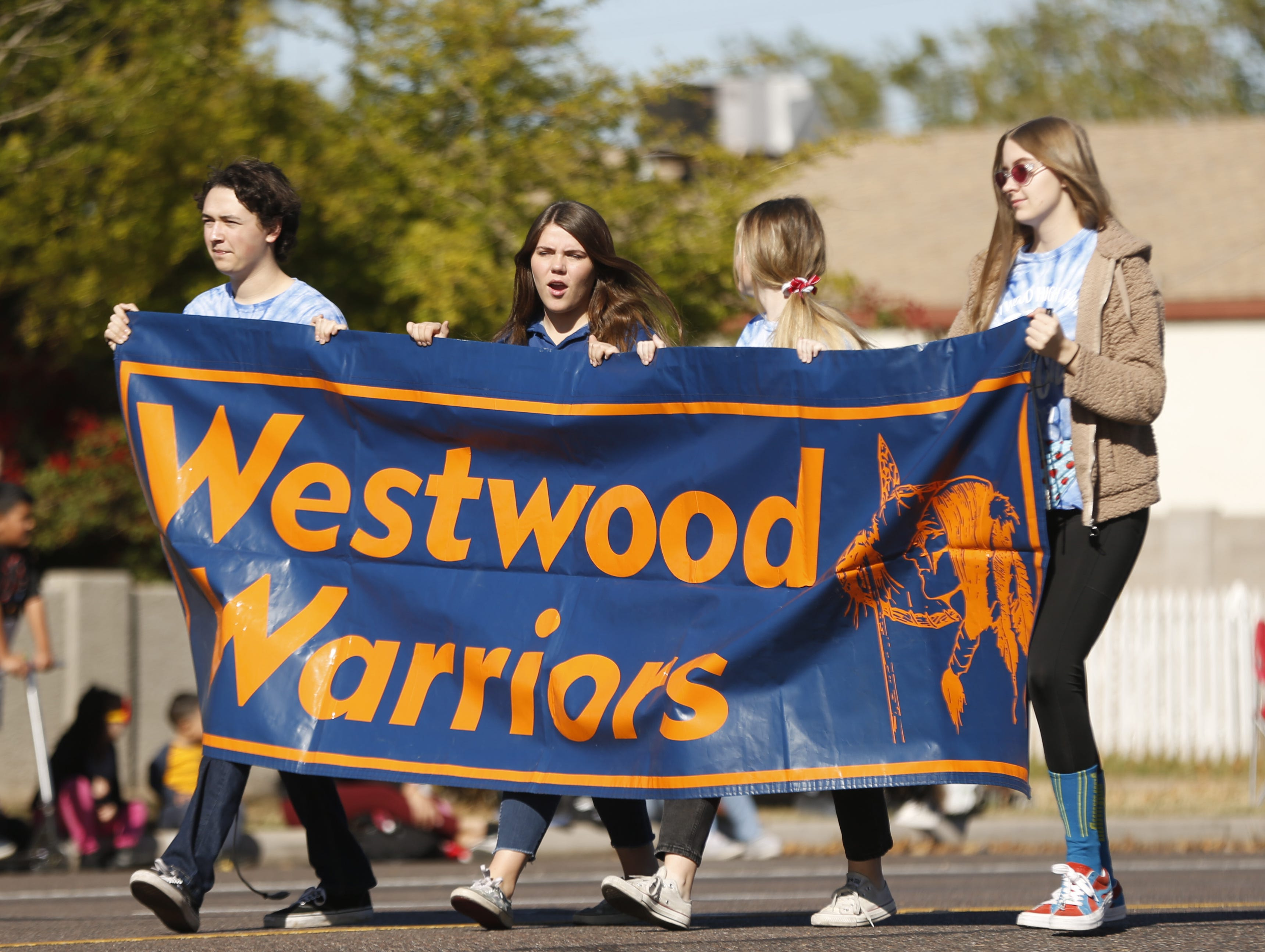 Westwood students make their way down the street during the MLK Day Parade in Mesa, Ariz. on January 21, 2019.