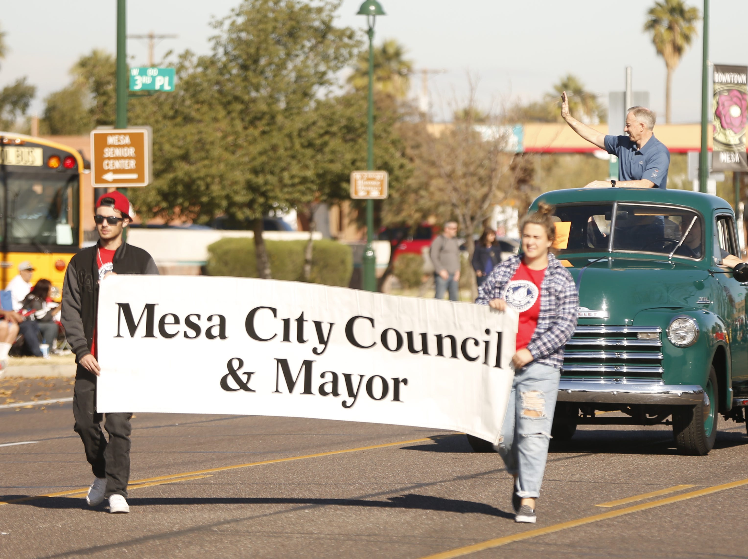 Mesa city mayor John Giles leads off the parade during the MLK Day Parade in Mesa, Ariz. on January 21, 2019.