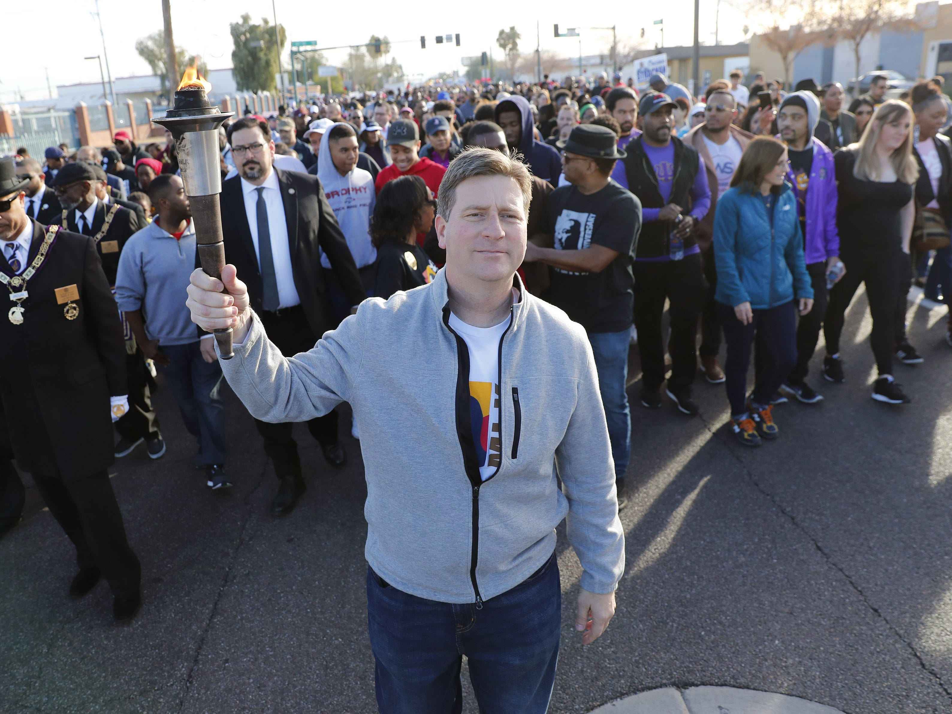 U.S. Rep. Greg Stanton (D-Ariz) leads a march honoring Dr. Martin Luther King in downtown Phoenix, Ariz. January 21, 2019. The march is symbolic of Dr. King's revolutionary 1968 march.