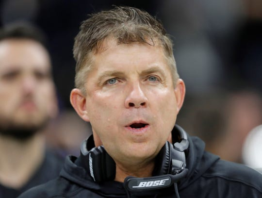 New Orleans Saints head coach Sean Payton is seen during the first half the NFL football NFC championship game against the Los Angeles Rams, Sunday, Jan. 20, 2019, in New Orleans. (AP Photo/Gerald Herbert)