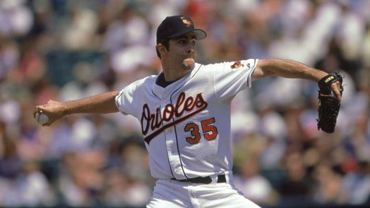 Pitcher Mike Mussina is seen during his playing days with the Baltimore Orioles.