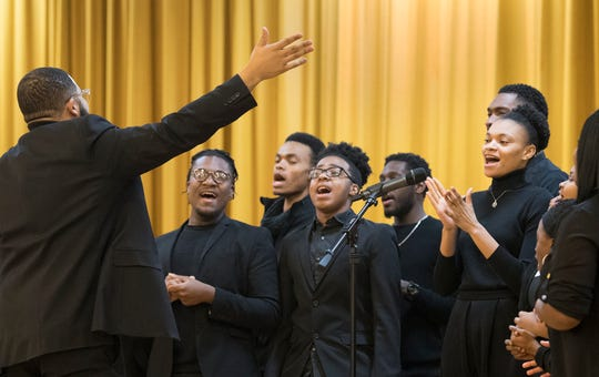 The Temple of Grace Ministries choir performs music during the 37th annual MLK Day of Service at Crispus Attucks in York on Monday, which was followed by volunteers who headed out for a day of community service.