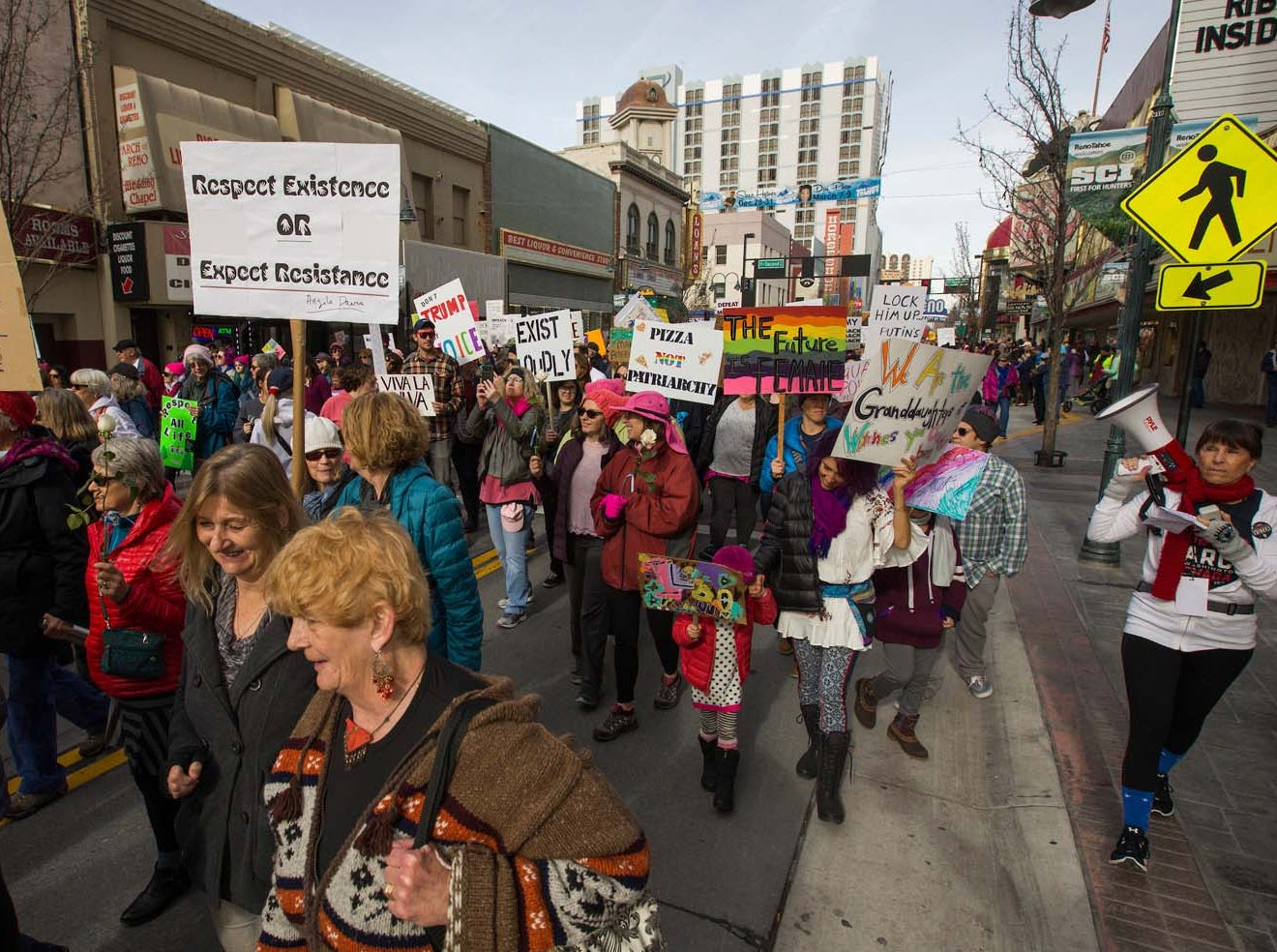 A photograph taken during the 3rd Annual Reno Women's March in downtown Reno on Saturday, January 19, 2019.