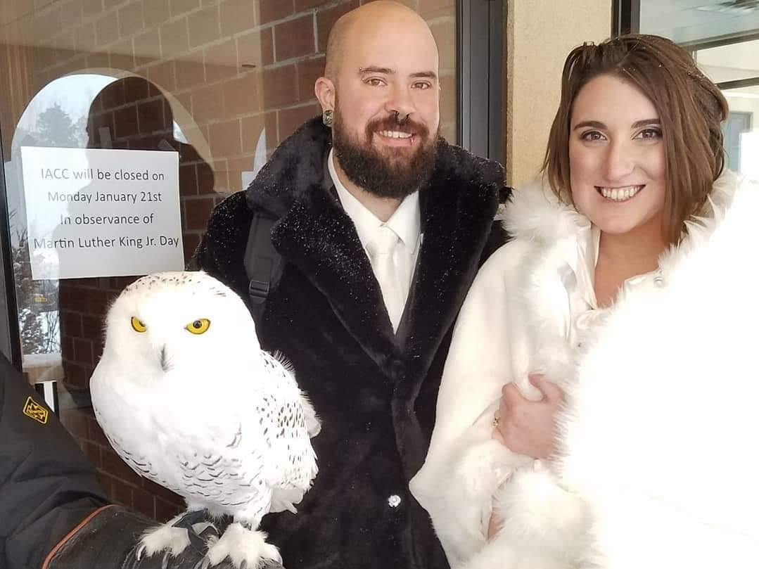 David and Darla Bragg pose with Teddy, the snowy owl from Wild Wings. Teddy was one of two owls that greeted guests at the wedding.