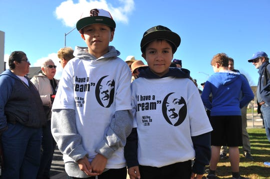 Michael and Mario Soto participated in the Martin Luther King Jr. Day march in Salinas.
