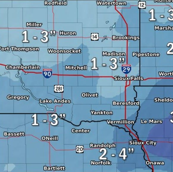 Sioux Falls could see another 4 inches of snow, strong winds Tuesday