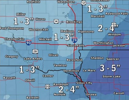 The National Weather Service in Sioux Falls is predicting between 1 and 4 inches of snow fall Tuesday.