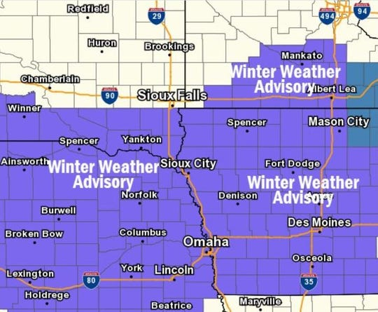 A winter weather advisory has been issued for the Sioux Falls area ahead of expected drizzle, snow and wind gusts Monday evening into Tuesday.