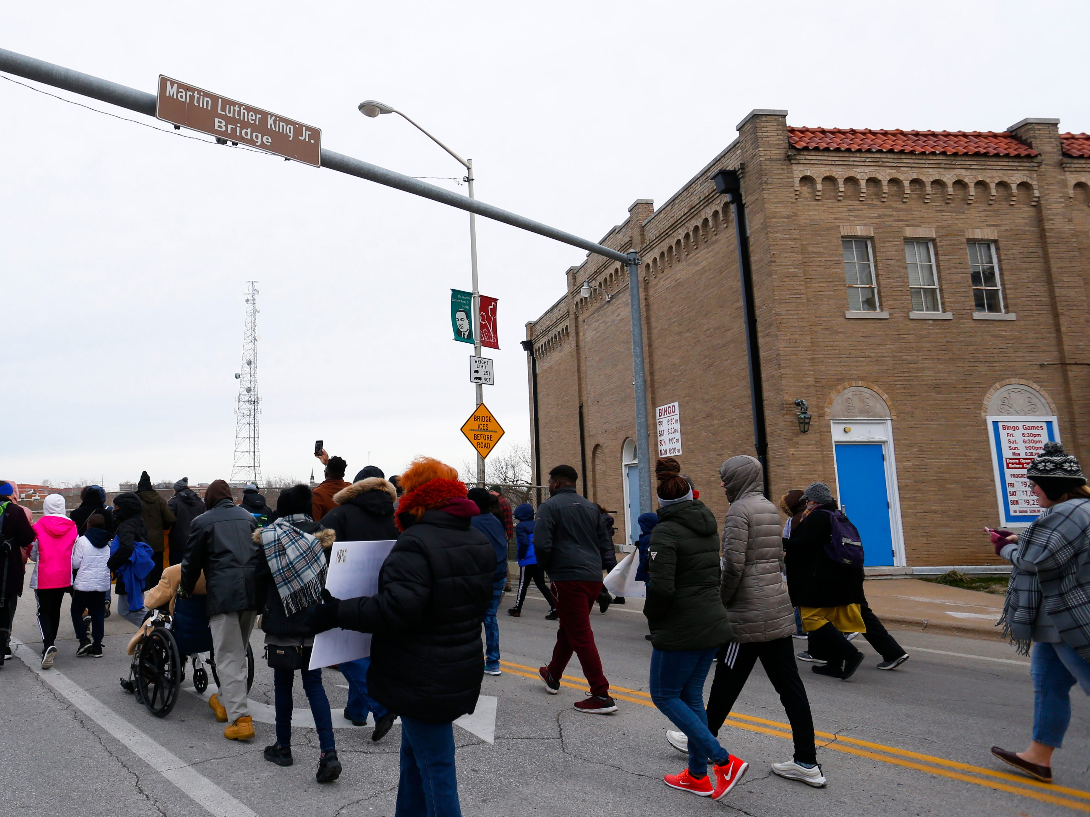 About a thousand people walked from the  Jordan Valley Ice Park, across the Martin Luther King Jr. Bridge, to the Gillioz Theatre as part of the annual Martin Luther King Jr. March and Celebration in downtown Springfield on Monday, Jan. 21, 2019.
