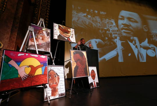 Springfield NAACP President Toni Robinson speaks at the Gillioz Theatre as part of the annual Martin Luther King Jr. March and Celebration in downtown Springfield on Monday, Jan. 21, 2019.