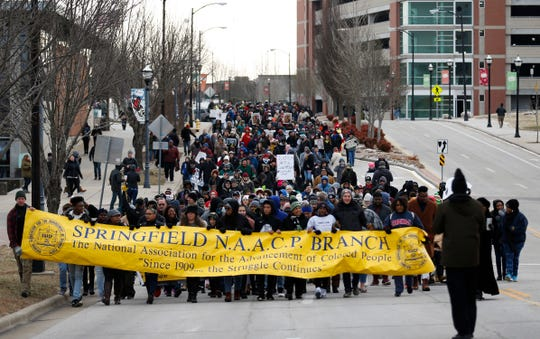 As many as 1,000 people walked from Jordan Valley Ice Park, across the Martin Luther King Jr. Bridge to the Gillioz Theatre as part of the annual Martin Luther King Jr. March and Celebration in downtown Springfield on Monday, Jan. 21, 2019