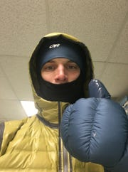 Erick Kuhlmann, bundled up for a cold-weather run Monday morning in Staunton.