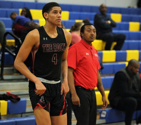 Zimife Nwokeji, a 6-foot-7 commit to Florida State and formerly a Maclay play, competes Monday at Rickards' MLK Inspire Classic as a member of The Rock Academy's basketball team. Nwokeji scored 13 points and grabbed 12 rebounds in a 71-64 win.
