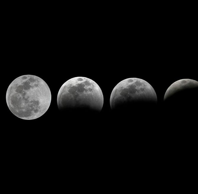 The progression of Sunday's super blood wolf moon lunar eclipse over Shell Point