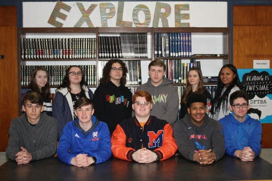 Millville High School's Students of the Month for December are (seated, from left): Weston Headley, Connor Dalgleish, John Chiarello, Darius Watson and Christian Hirschman; and (standing, from left) Calli Sipin, Brook Dover, Nicholas Brown, Dean Meehan, Laura Omahne and Aleesha Johnson.