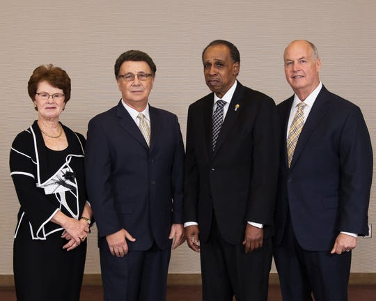 Cumberland County College Foundation Board officers are (from left) Mary Jo Williams, Secretary; Bob DeSanto, Chair; Dr. Cadmus Hull, Vice Chair; and R. Douglas Smithson, Treasurer.