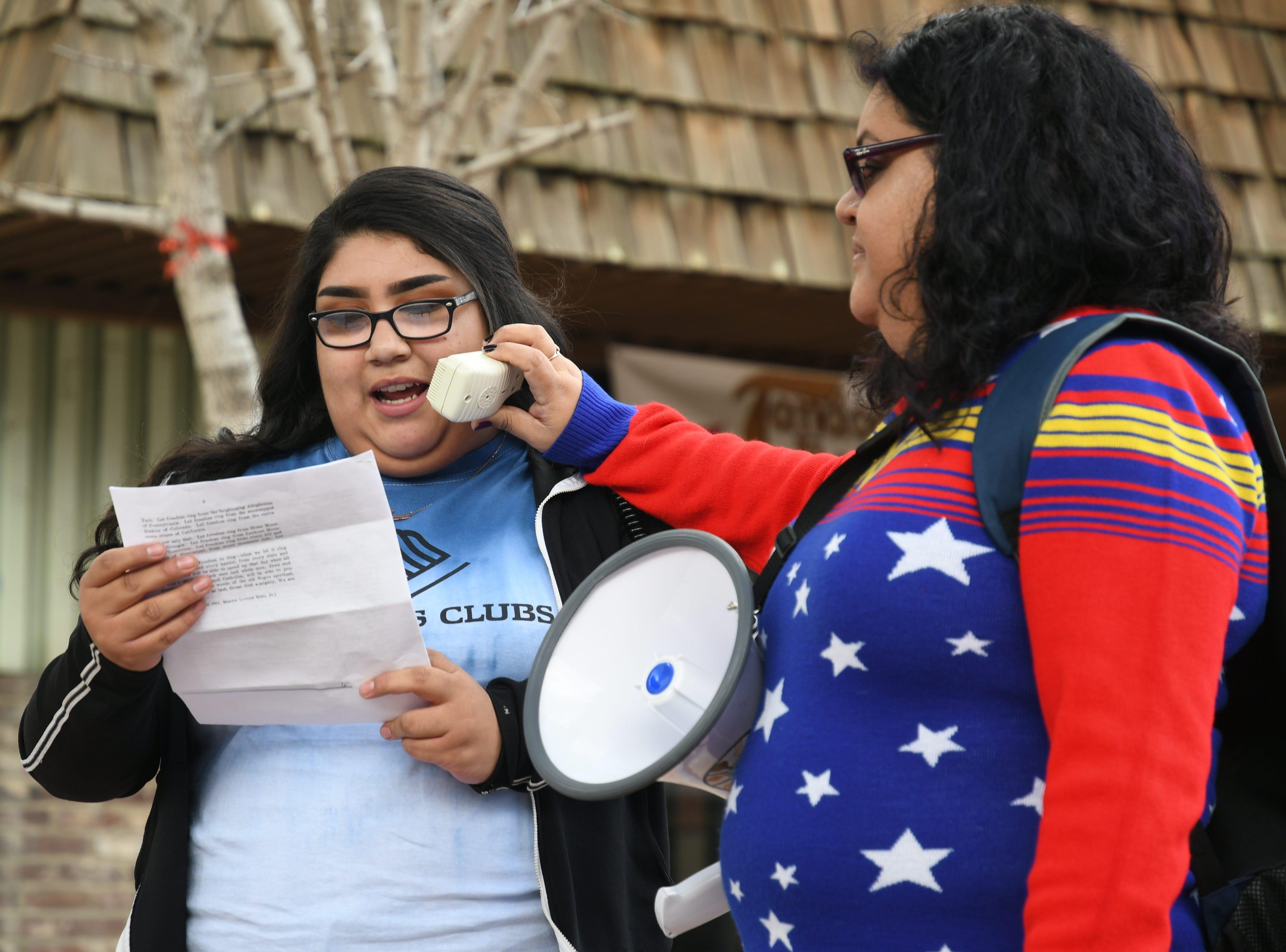 "Artemisa De La Criz, 17, recites MLK's famous ""I Have a Dream"" in full at Garden Street Plaza."