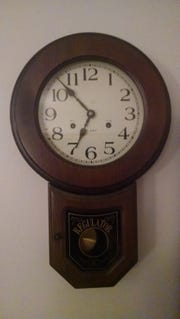 The old wind up clock marked time for each school day when Jerry Apps was a boy.