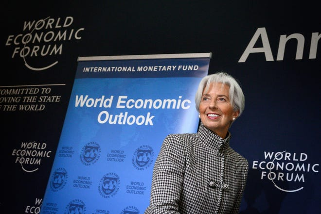 International Monetary Fund Managing Director Christine Lagarde attends a press conference on IMF World Economic Outlook ahead of the World Economic Forum (WEF) annual meeting on January 21, 2019, in Davos, eastern Switzerland.