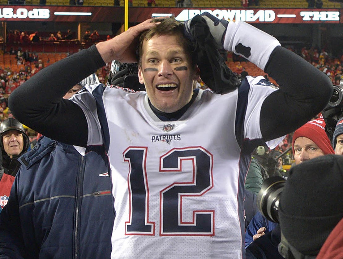 Conference championships: Tom Brady  reacts after defeating the Kansas City Chiefs 37-31 in overtime of the AFC Championship at Arrowhead Stadium.