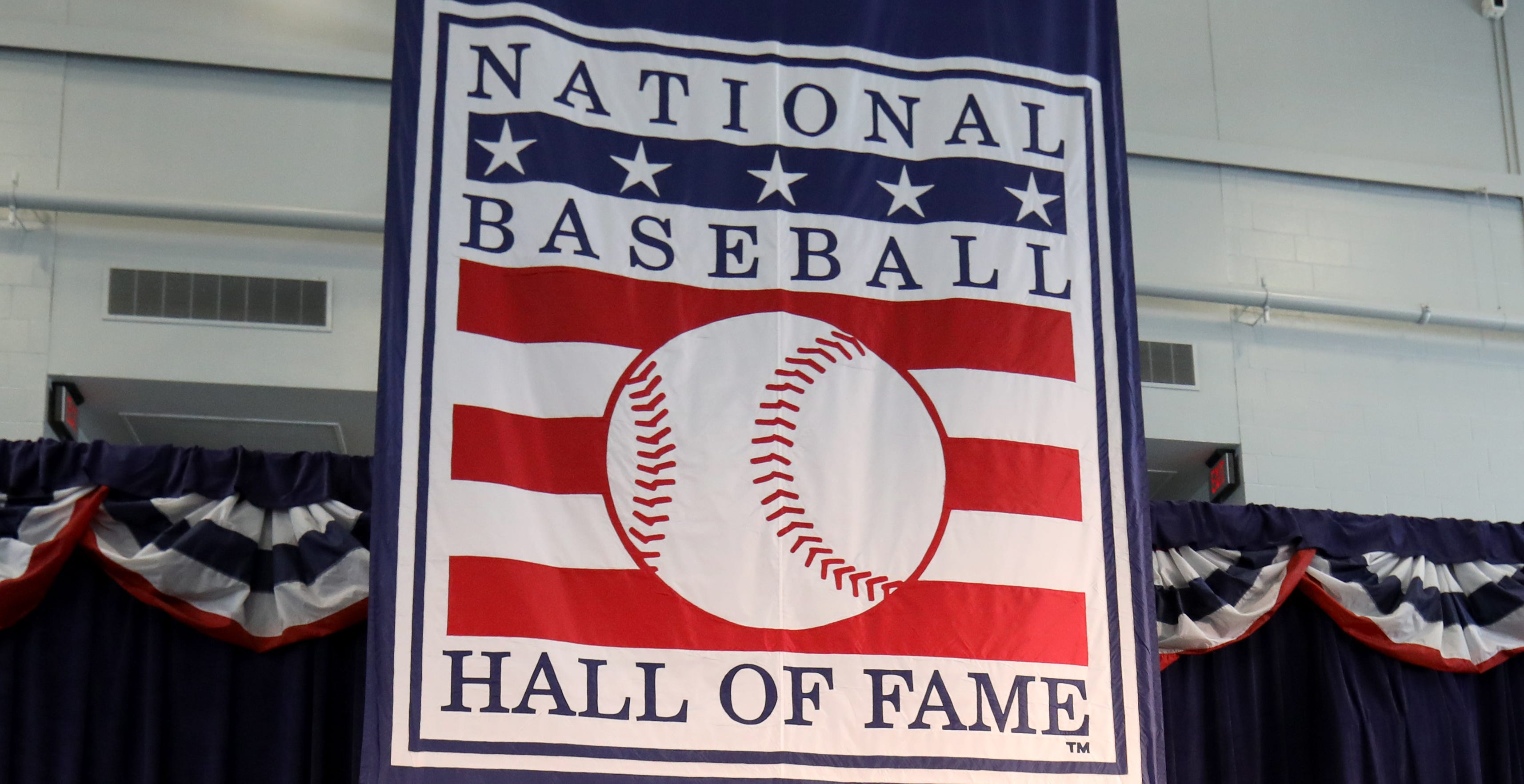 A view of the Baseball Hall of Fame logo in Cooperstown.