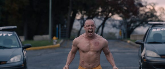 "James McAvoy upped his workout regimen to look the part as Kevin Wendell Crumb's Beast personality in ""Glass."""