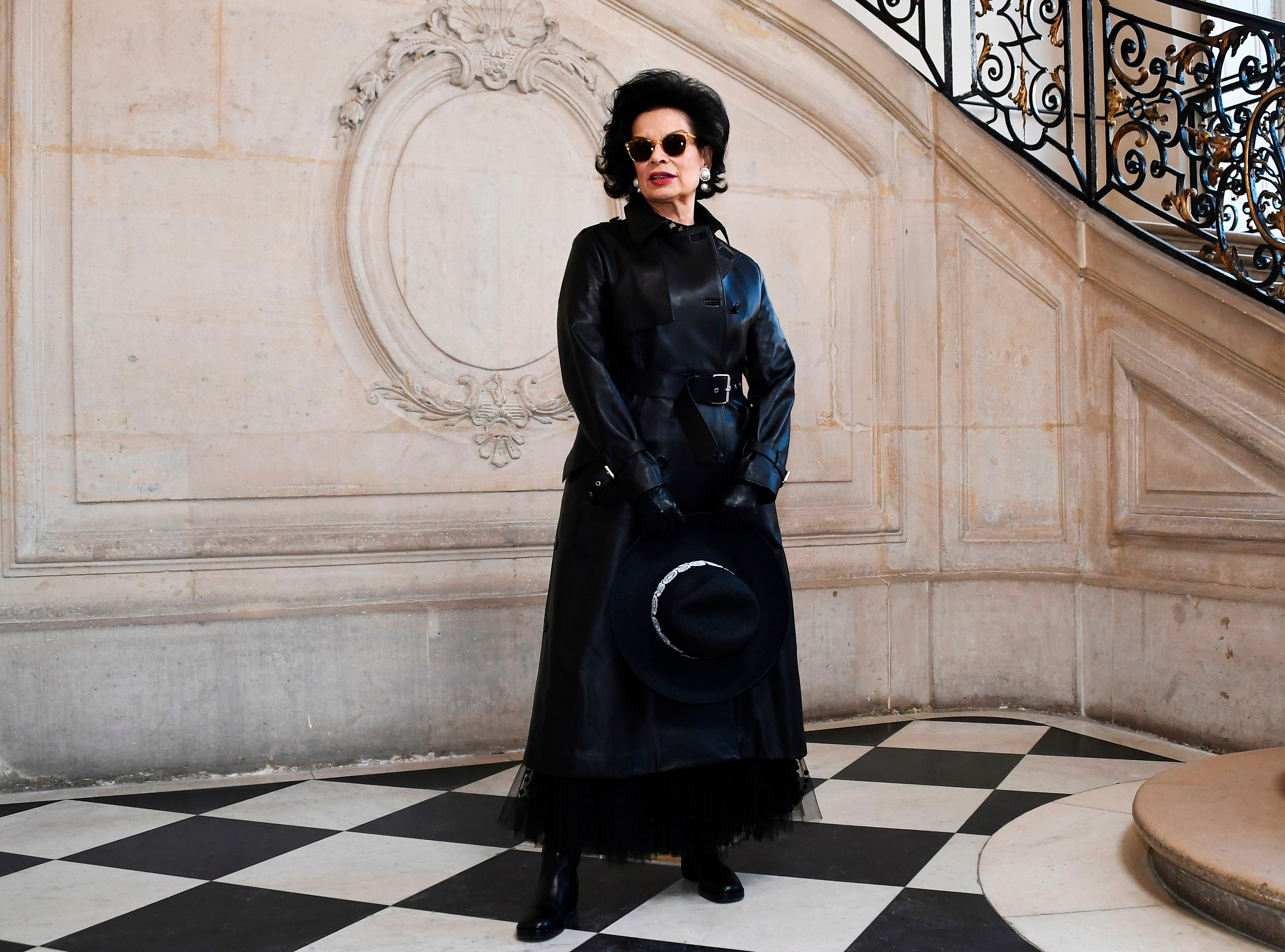 Nicaraguan celebrity and human rights advocate Bianca Jagger poses during a photocall prior to the 2019 Spring-Summer Haute Couture collection fashion show by Christian Dior in Paris, on January 21, 2019. (Photo by Anne-Christine POUJOULAT / AFP)ANNE-CHRISTINE POUJOULAT/AFP/Getty Images ORIG FILE ID: AFP_1CG67B