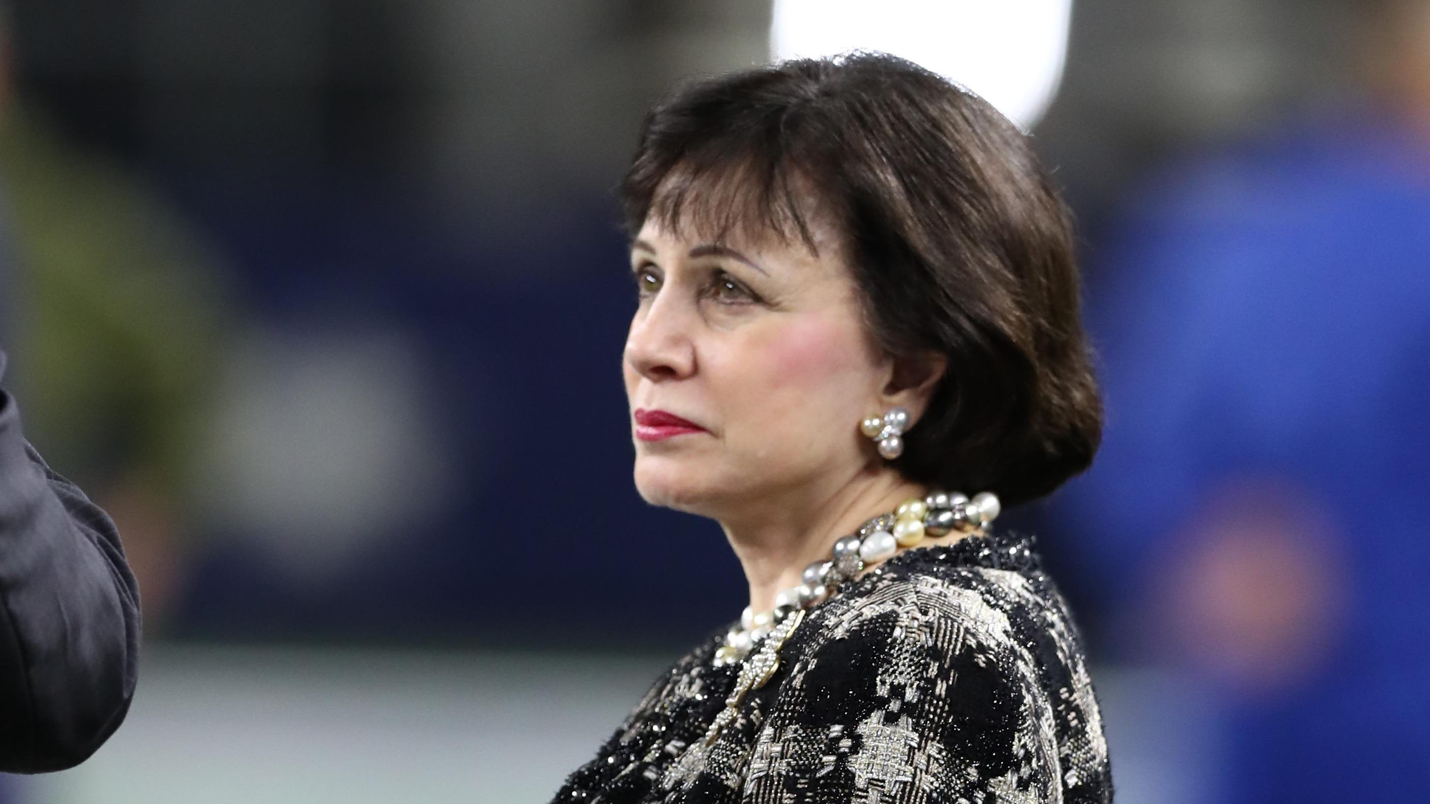New Orleans Saints owner Gayle Benson on the sidelines prior to the game against the Dallas Cowboys at AT&T Stadium.