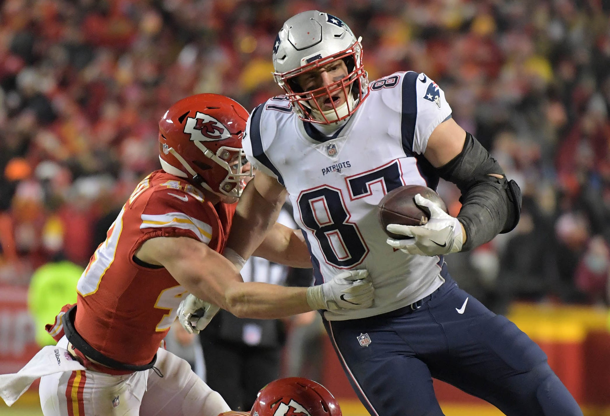 Rob Gronkowski's clutch catches helped the Patriots reach Super Bowl LIII.