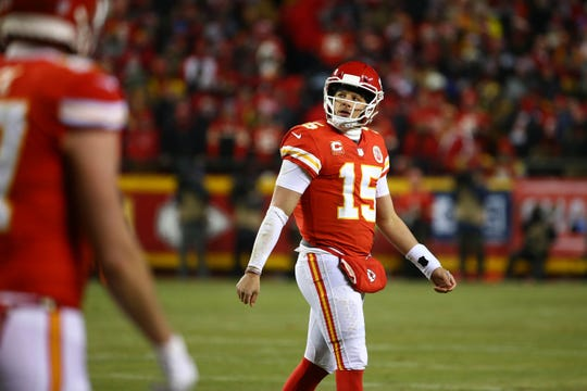 Kansas City Chiefs quarterback Patrick Mahomes (15) looks on after a sack during the first half of the AFC Championship game against the New England Patriots at Arrowhead Stadium.