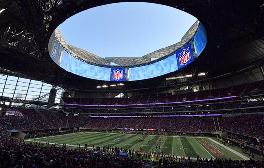 The Mercedes-Benz Stadium will host its first Super Bowl when the Los Angeles Rams and New England Patriots meet in Atlanta on Feb. 3.