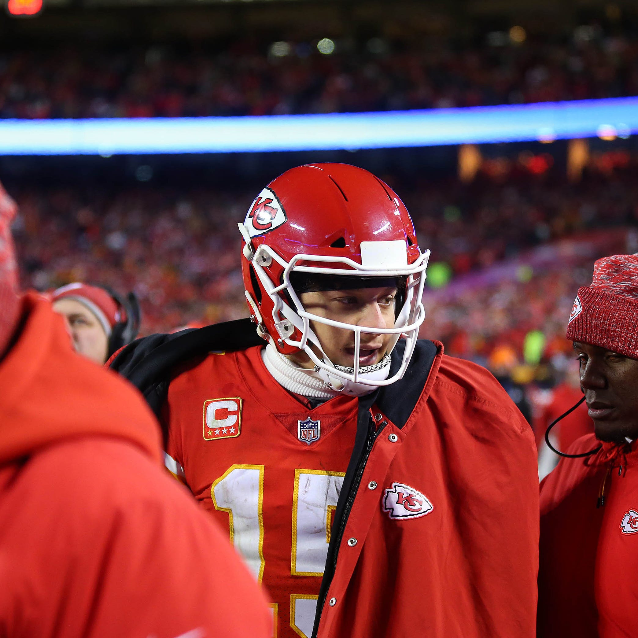 Patrick Mahomes looks on from the sidelines during the AFC Championship.