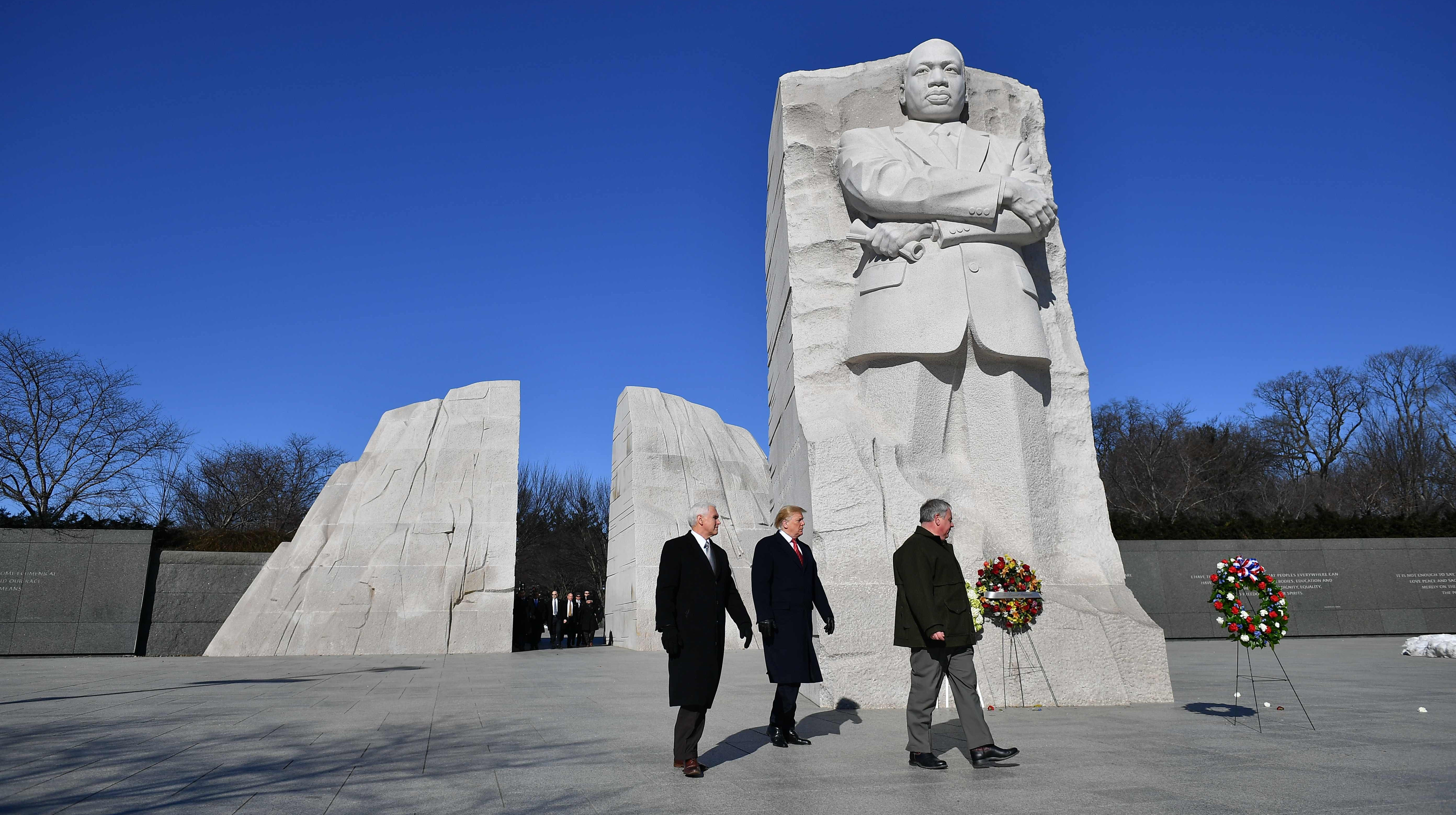 President Donald Trump, Vice President Mike Pence at the Martin Luther King Jr. Memorial.